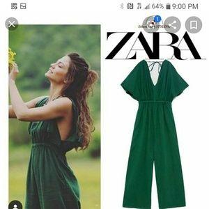 Zara olive green rustic linen blend fabric jumpsui